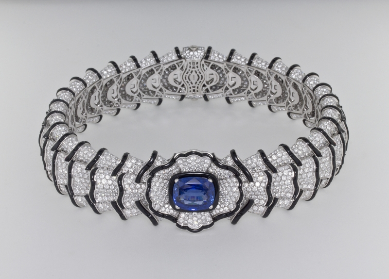 BVLGARI Wild Pop ROARING 80's系列 The Magnificent Blue Ruffles 頂級鑽石、縞瑪瑙與藍寶石頸鍊