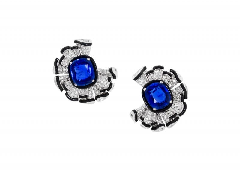 BVLGARI Wild Pop ROARING 80's系列 The Magnificent Blue Ruffles 頂級鑽石與藍寶石耳環