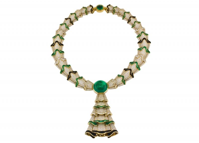 BVLGARI Wild Pop ROARING 80's系列 The Magnificent Green Ruffles頂級鑽石與祖母綠項鍊