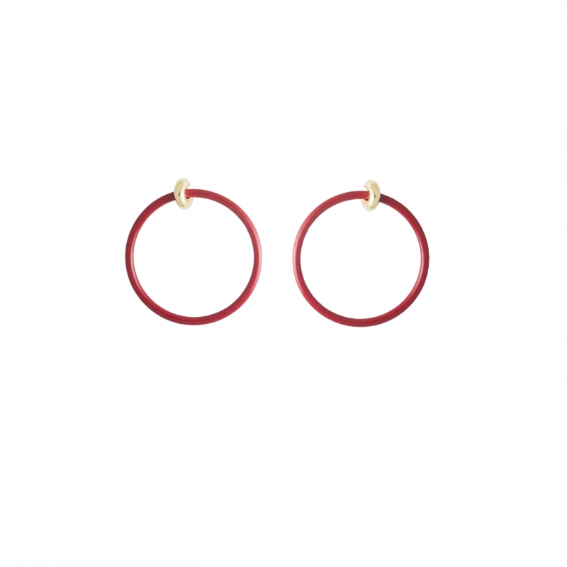 紅色圓形耳環,Balenciaga,價格電洽。