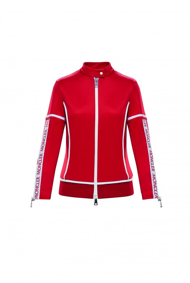 艷紅色拉鍊拼接上衣,Moncler,價格電洽。