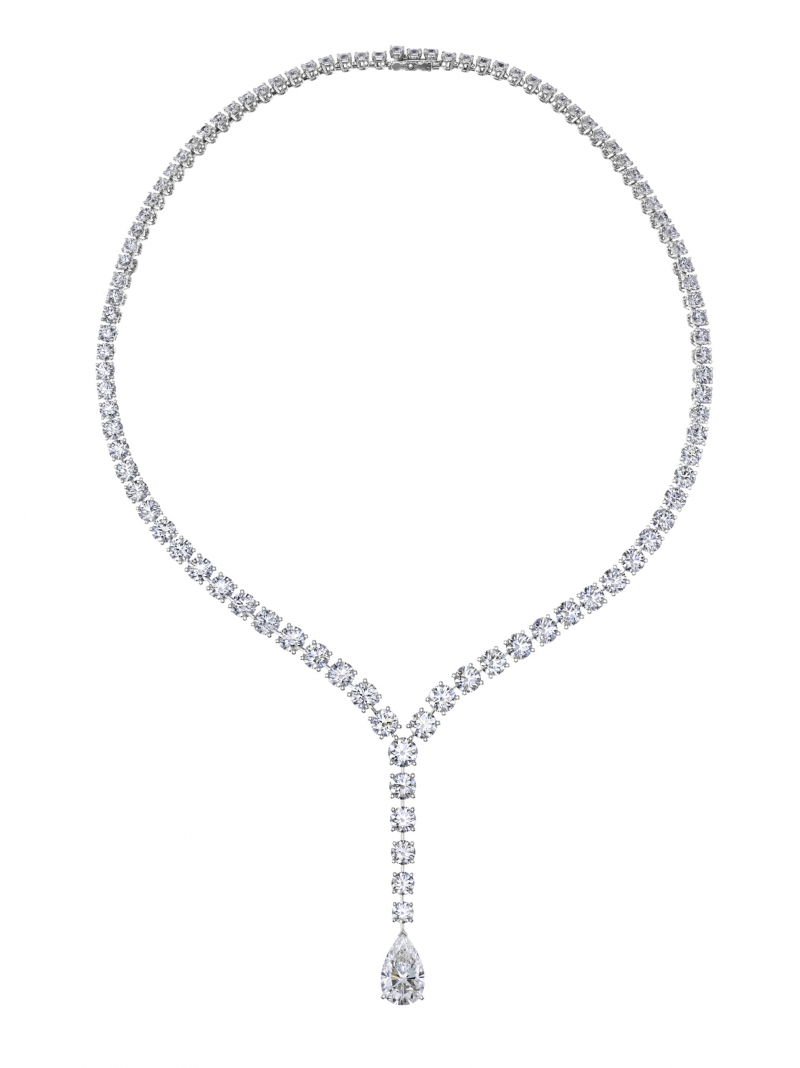 Diamond Legends by De Beers 高級珠寶系列 - Vulcan 項鍊(拆下兩側的彩鑽鍊條)