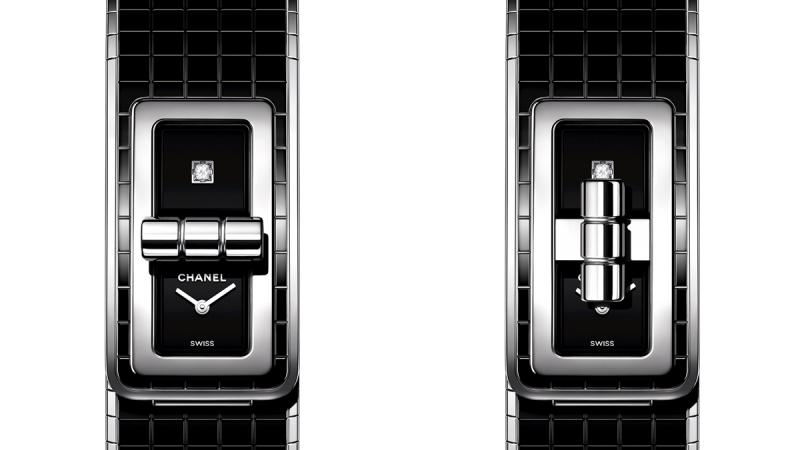 Code Coco腕錶 精鋼錶殼。精鋼錶圈。 黑色漆面錶盤,單獨鑲嵌一顆公主式切割鑽石。 精鋼及黑色陶瓷錶帶。高精準度石英機芯。 防水深度:30米。 尺寸:38.1 x 21.5 毫米。 建議售價NTD211,000元