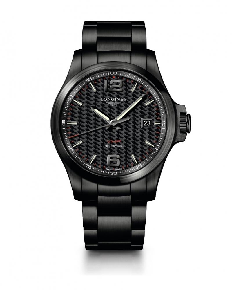 Longines 浪琴表征服者系列V.H.P.碳纖維面盤黑色PVD不鏽鋼鍊帶腕錶 ( L3.726.2.66.6 )建議售價 NT$44,600