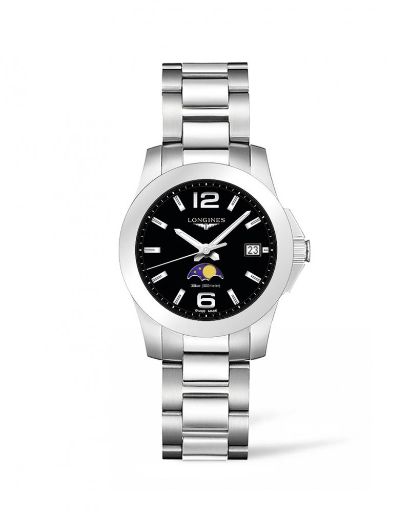 Longines浪琴表征服者系列月相曜石黑女性腕錶( L3.381.4.58.6 )34毫米錶徑建議售價 NT$27,700