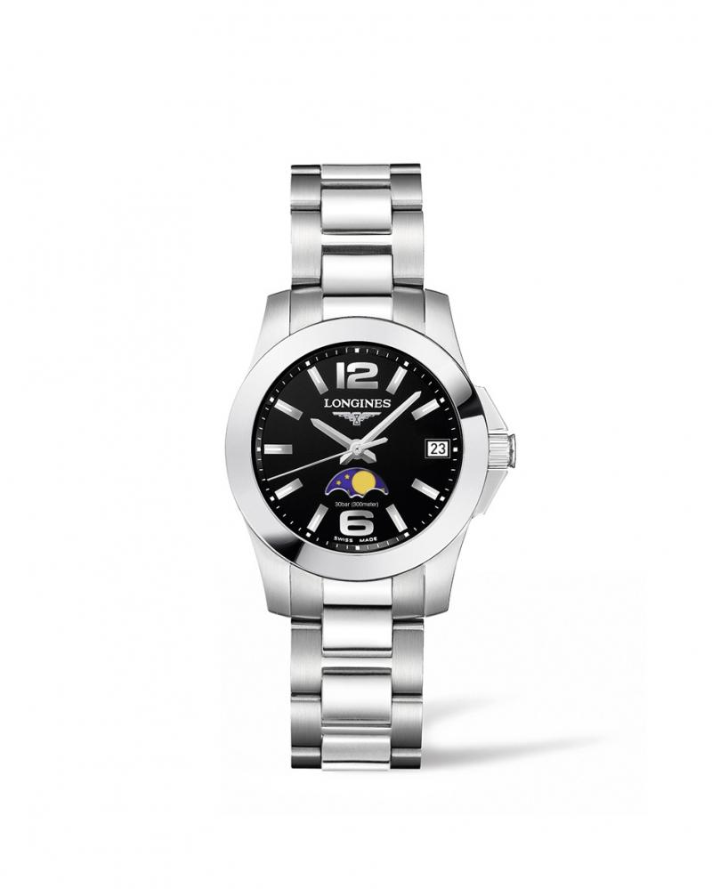 Longines浪琴表征服者系列月相曜石黑女性腕錶( L3.380.4.58.6 )29.5 毫米錶徑建議售價 NT$27,700