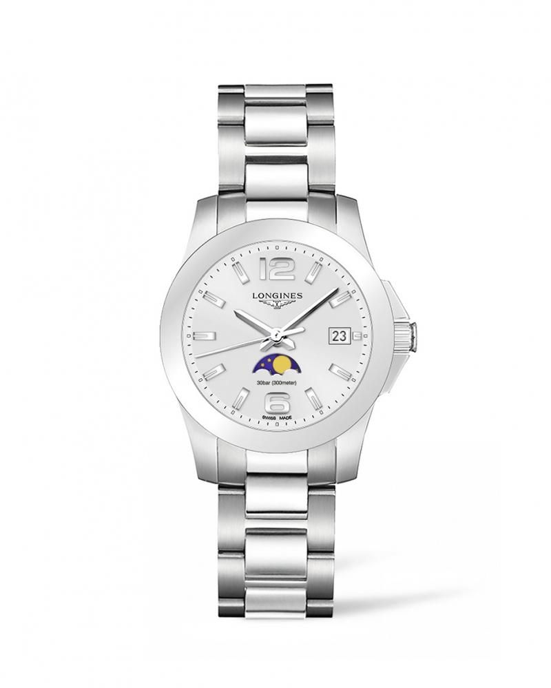 Longines浪琴表征服者系列月相動感銀女性腕錶( L3.381.4.76.6) 34毫米錶徑 建議售價 NT$27,700