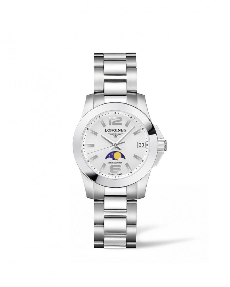 Longines浪琴表征服者系列月相動感銀女性腕錶( L3.380.4.76.6) 29.5 毫米錶徑 建議售價 NT$27,700