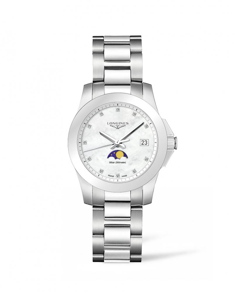 Longines浪琴表征服者系列月相珍珠母貝女性腕錶(L3.381.4.87.6) 34毫米錶徑 建議售價 NT$41,500