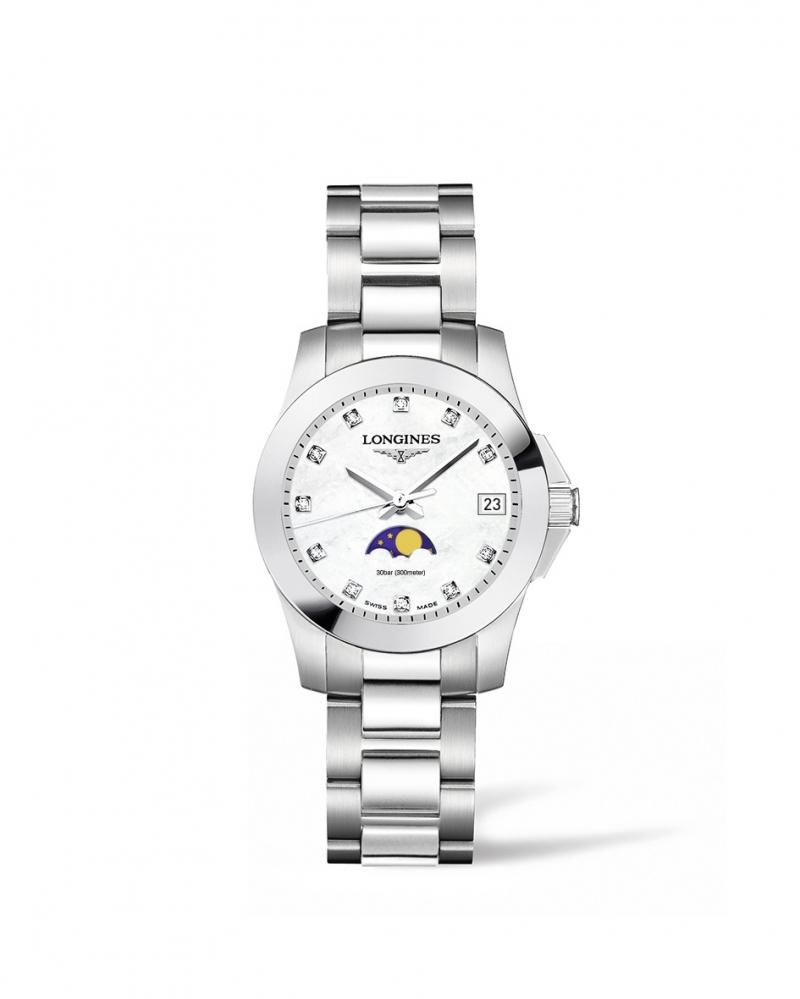 Longines浪琴表征服者系列月相珍珠母貝點鑽時標女性腕錶(L3.380.4.87.6) 29.5毫米錶徑 建議售價 NT$41,500