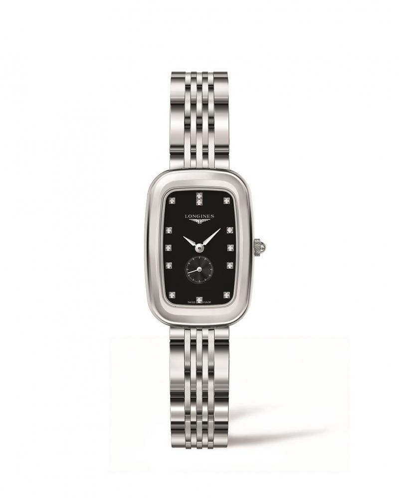 LONGINES 浪琴表騎士系列黑面點鑽時標馬轡造型腕錶 (L6.141.4.57.6),建議售價NT$51,900