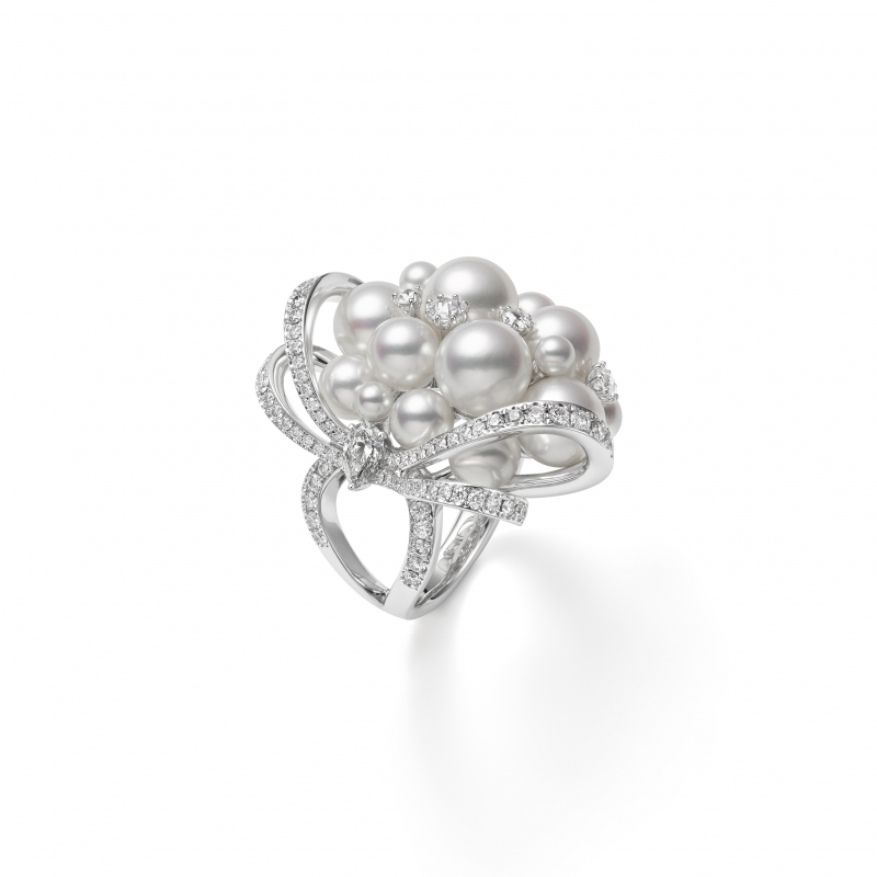 MIKIMOTO Juex de Rubans日本Akoya珍珠高級珠寶鑽石戒指