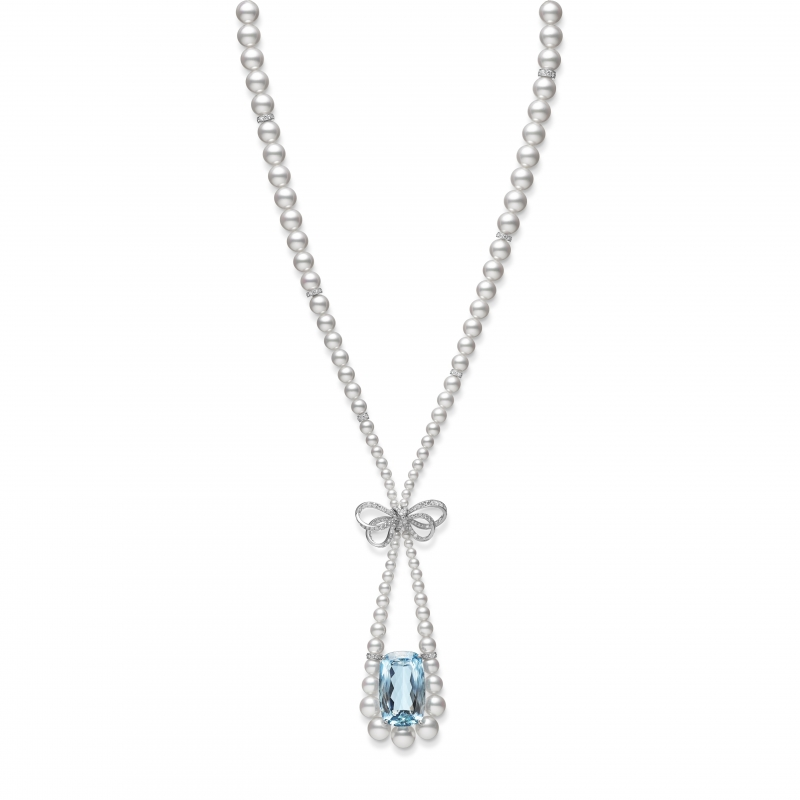 MIKIMOTO Juex de Rubans日本Akoya珍珠海水藍寶高級珠寶項鍊