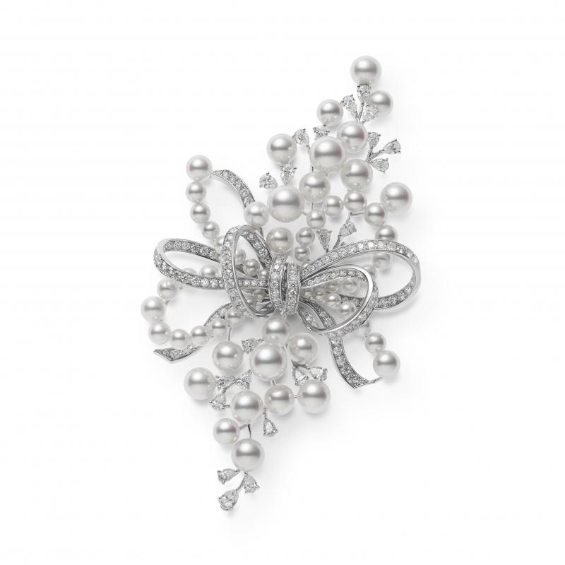 MIKIMOTO Juex de Rubans日本Akoya珍珠高級珠寶鑽石胸針