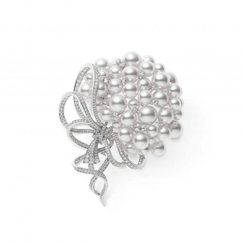 MIKIMOTO Juex de Rubans日本Akoya珍珠高級珠寶鑽石蝴蝶結胸針