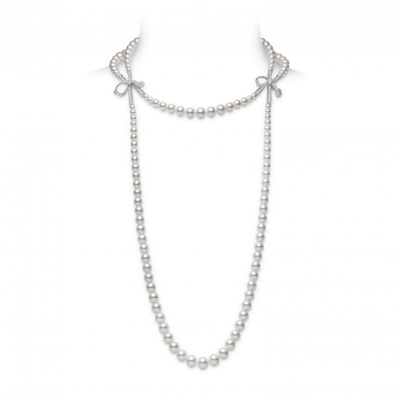 MIKIMOTO Juex de Rubans日本Akoya珍珠高級珠寶鑽石蝴蝶結層次項鍊