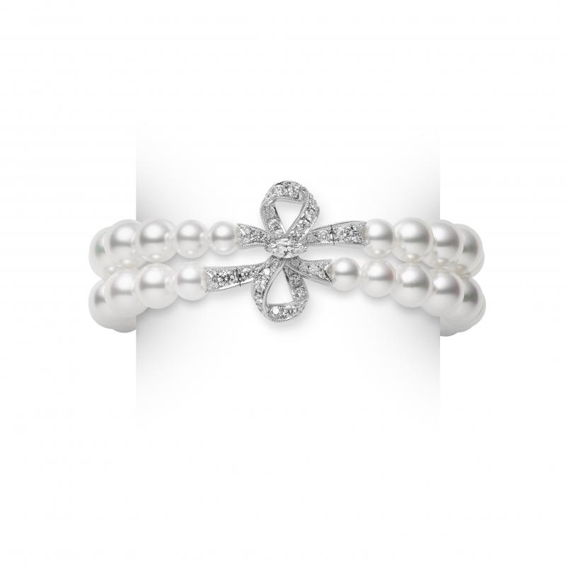 MIKIMOTO Juex de Rubans日本Akoya珍珠高級珠寶鑽石蝴蝶結雙排手鍊