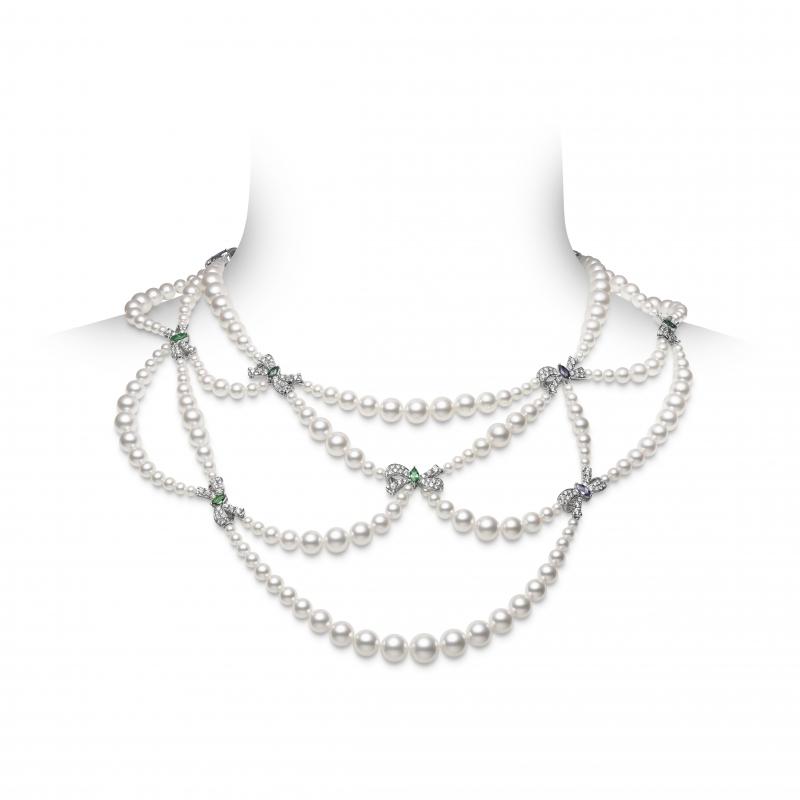 MIKIMOTO Juex de Rubans日本Akoya珍珠彩寶高級珠寶肩飾項鍊