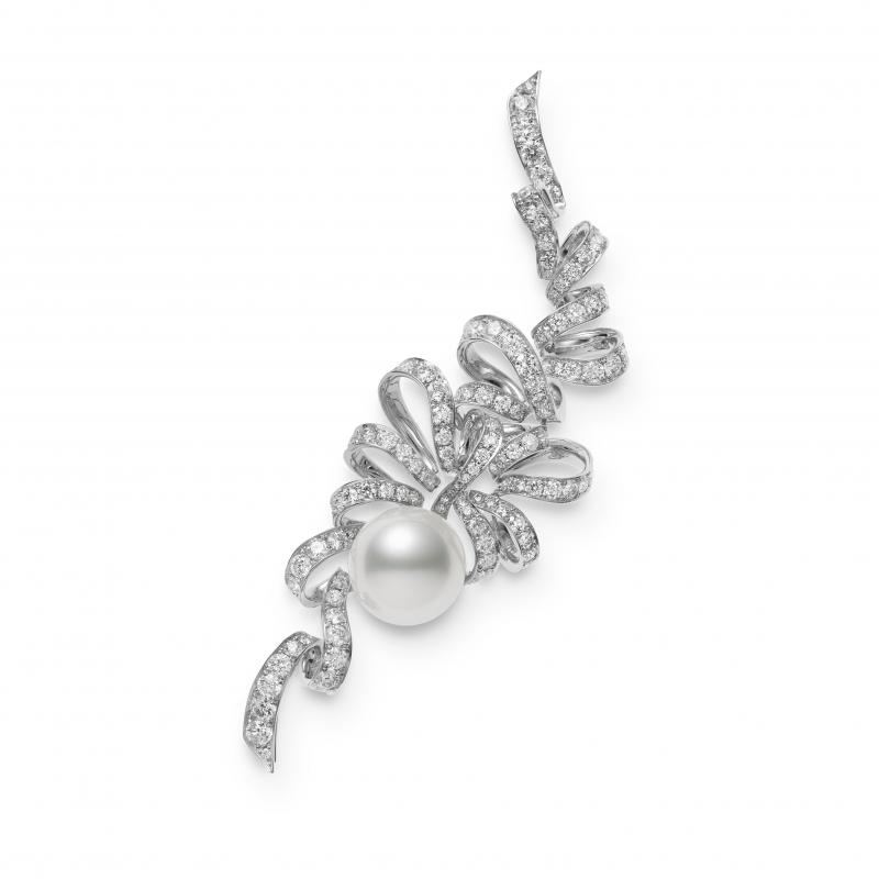 MIKIMOTO Juex de Rubans南洋珍珠高級珠寶鑽石緞帶胸針