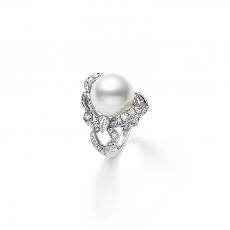 MIKIMOTO Juex de Rubans南洋珍珠高級珠寶鑽石蝴蝶結戒指