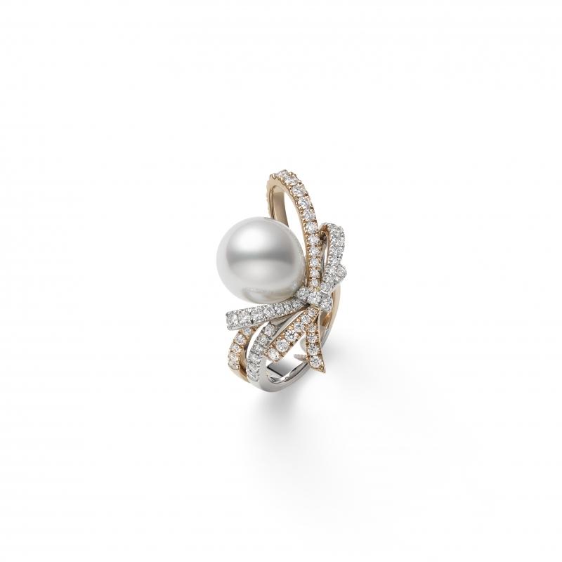 MIKIMOTO Juex de Rubans南洋珍珠高級珠寶鑽石蝴蝶結雙色金戒指