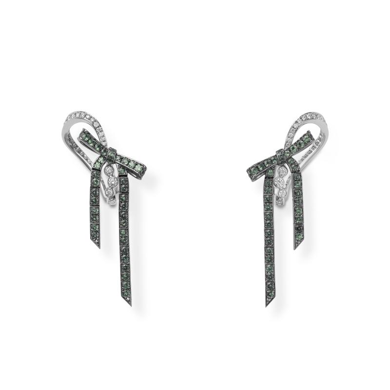 MIKIMOTO Juex de Rubans高級珠寶鑽石彩寶蝴蝶結耳環