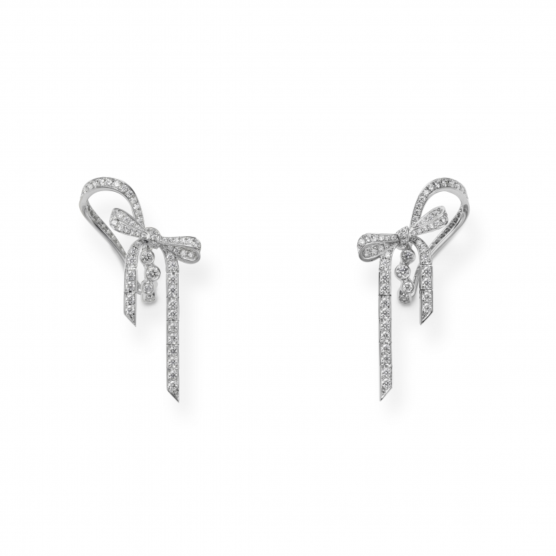 MIKIMOTO Juex de Rubans高級珠寶鑽石蝴蝶結耳環