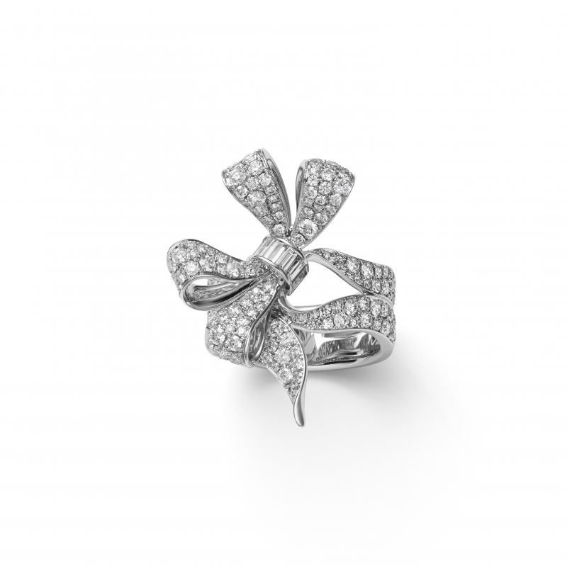 MIKIMOTO Juex de Rubans高級珠寶鑽石蝴蝶結戒指