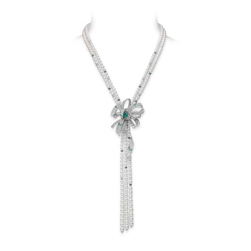 MIKIMOTO Juex de Rubans日本Akoya珍珠祖母綠高級珠寶項鍊