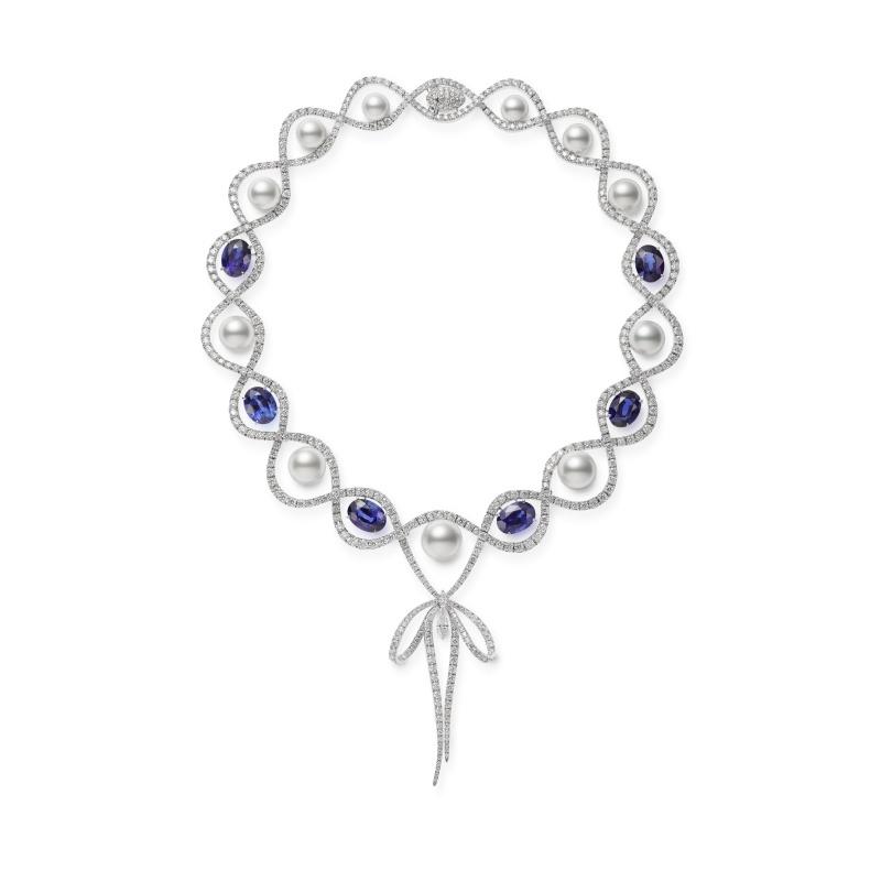 MIKIMOTO Juex de Rubans南洋珍珠海水藍寶鑽石蝴蝶結高級珠寶項鍊
