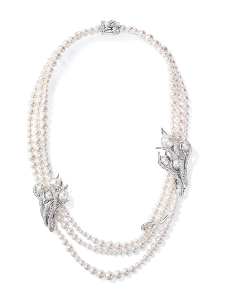 Eveil 鑽石珍珠鉑金項鍊