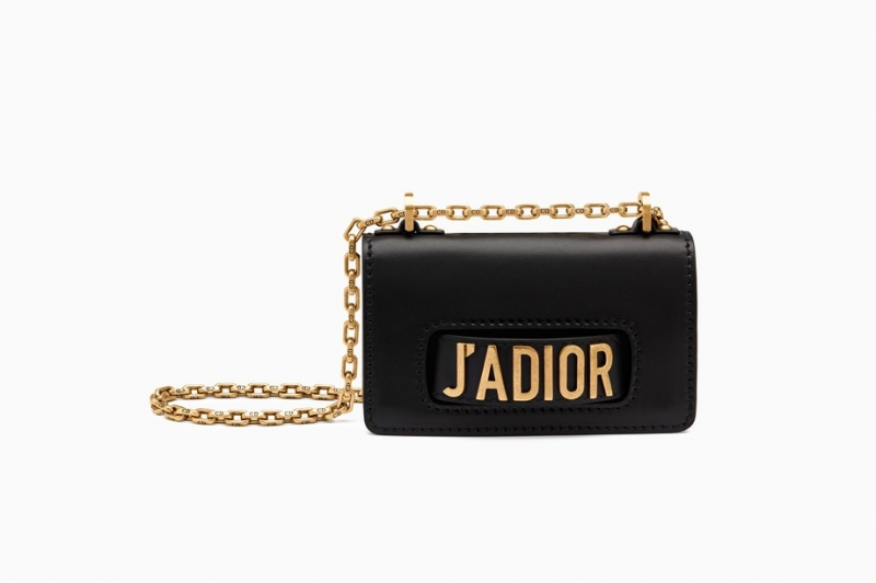 Dior MINI J'ADIOR FLAP BAG IN BLACK SMOOTH CALFSKIN
