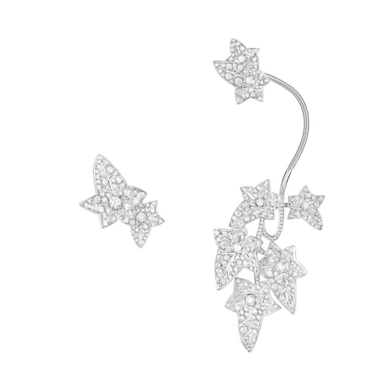 Boucheron Lierre de Paris耳掛式耳環鑲嵌總重 6.13克拉鑽石白K金