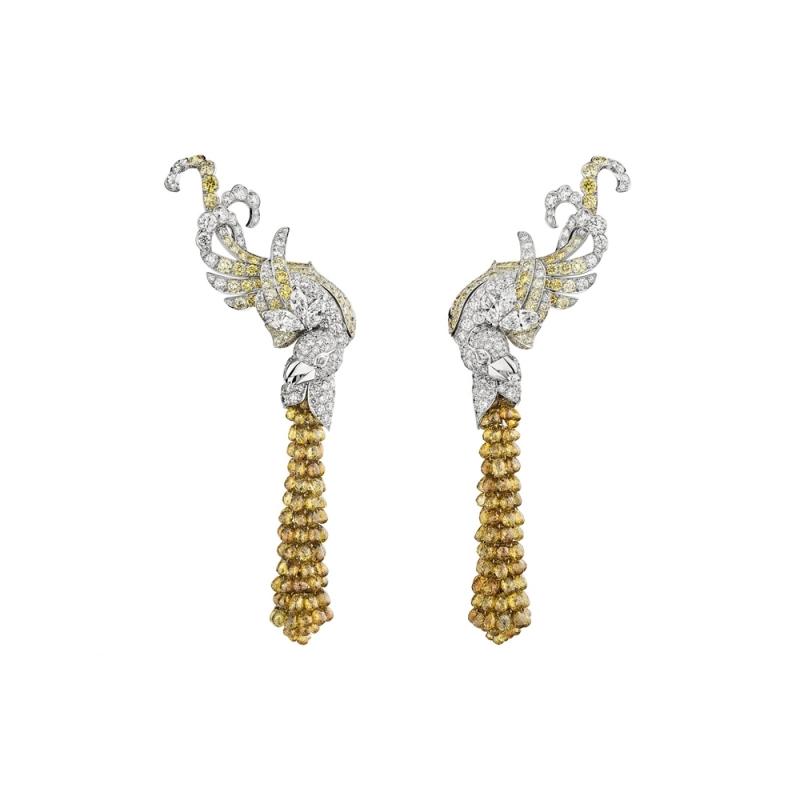 Chanel 白K與黃K 白鑽與黃鑽耳骨勾式耳環