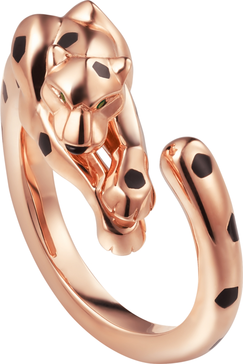 Panthere Lovée 纏繞的豹玫瑰K 金戒指 玫瑰K 金,縞瑪瑙,黑色真漆,鑲嵌2 顆沙弗萊石。 參考價格約NT$ 233,000