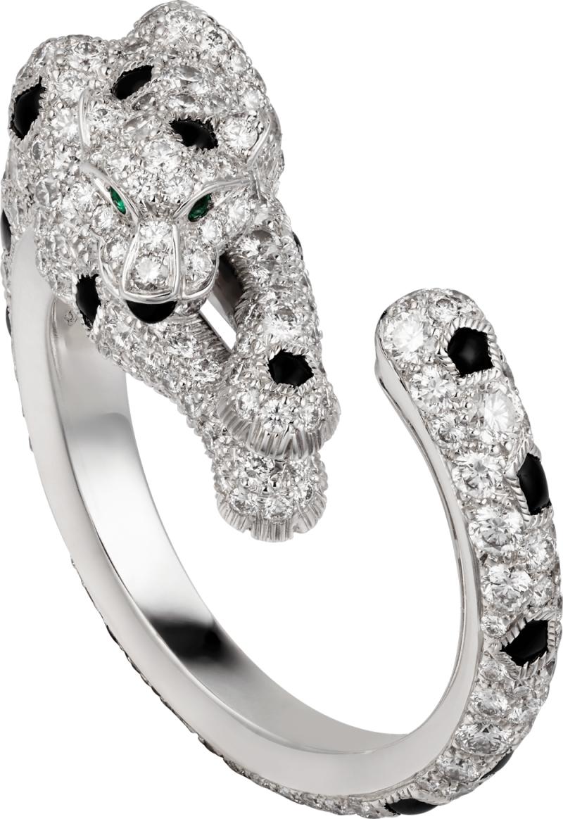Panthere Lovée 纏繞的豹鋪鑽戒指 白K 金,縞瑪瑙,鑲嵌2 顆祖母綠及圓形明亮式切割鑽 石。參考價格約NT$ 1,170,000