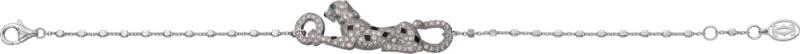 將於11 月正式上市 Sweet Demoiselle 趴豹鋪鑽手鍊 白K 金,黑色真漆,鑲嵌1 顆祖母綠及圓形明亮式切割 鑽石。參考價格約NT$ 710,000