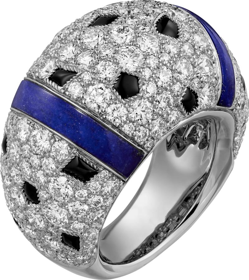 Panthère de Cartier 美洲豹豹斑點青金石戒指 鑲嵌圓形明亮式切割鑽石,青金石,縞瑪瑙。 參考價格約NT$ 1,880,000