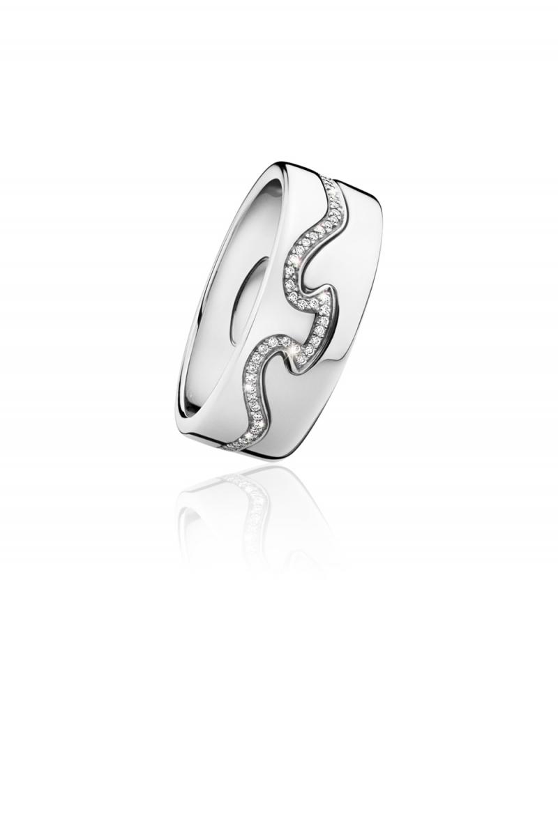 GEORG JENSEN_FUSION兩件式環戒-18K白金明亮式切割鑽石_建議售價NT$100,300起