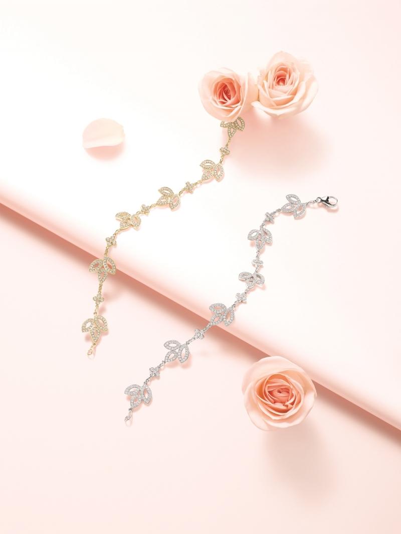 海瑞溫斯頓Lily Cluster鑽石黃金手鍊及鑽石鉑金手鍊