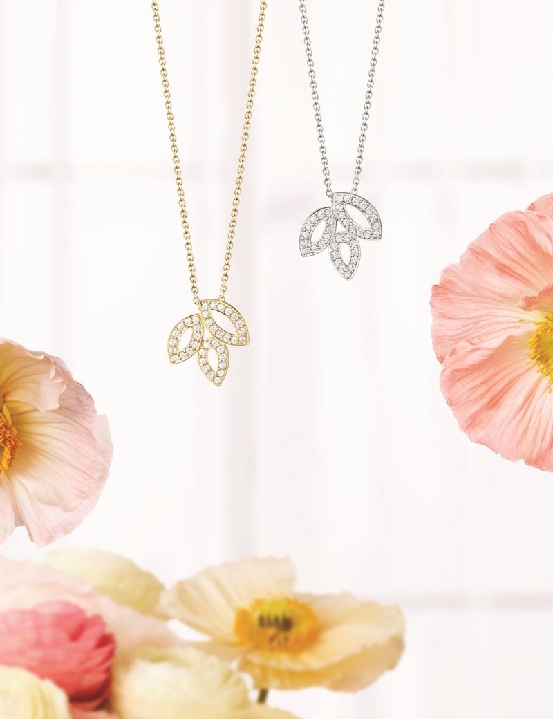 海瑞溫斯頓 Lily Cluster小型鑽石黃金鍊墜及小型鑽石鉑金鍊墜