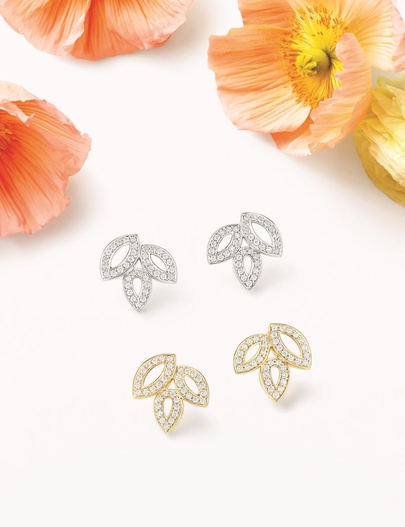 海瑞溫斯頓 Lily Cluster小型鑽石鉑金耳環及小型鑽石黃金耳環
