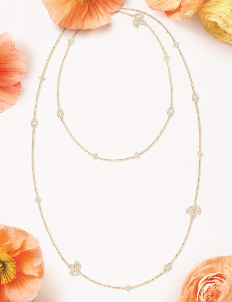 海瑞溫斯頓 百合錦簇Lily Cluster黃18K金鑽石長項鍊2