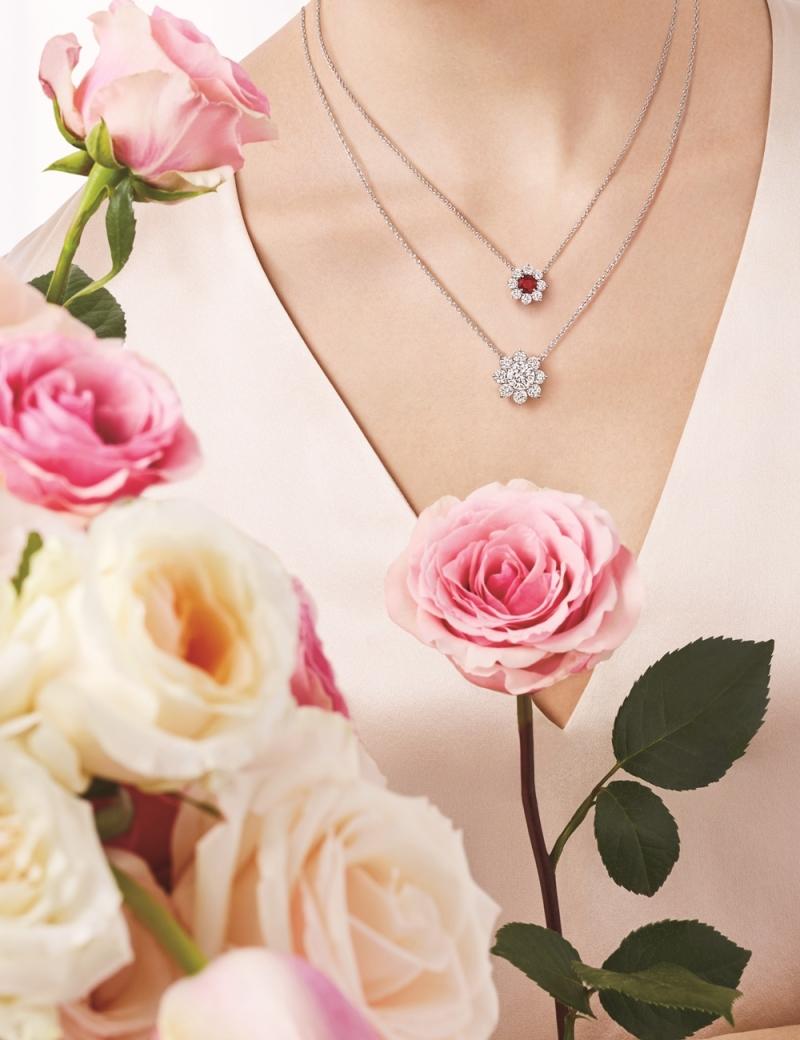 海瑞溫斯頓 向陽花卉Sunflower珠寶系列,Petite紅寶石鑽石鍊墜及鑽石鍊墜