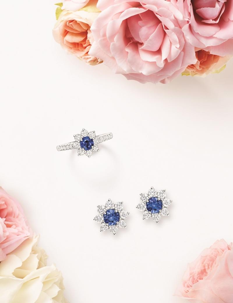 海瑞溫斯頓 向陽花卉Sunflower珠寶系列,Petite藍寶石鑽石戒指及耳環