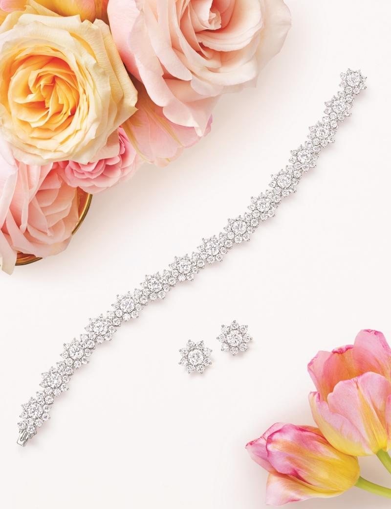 海瑞溫斯頓 Sunflower鑽石手鍊及耳環