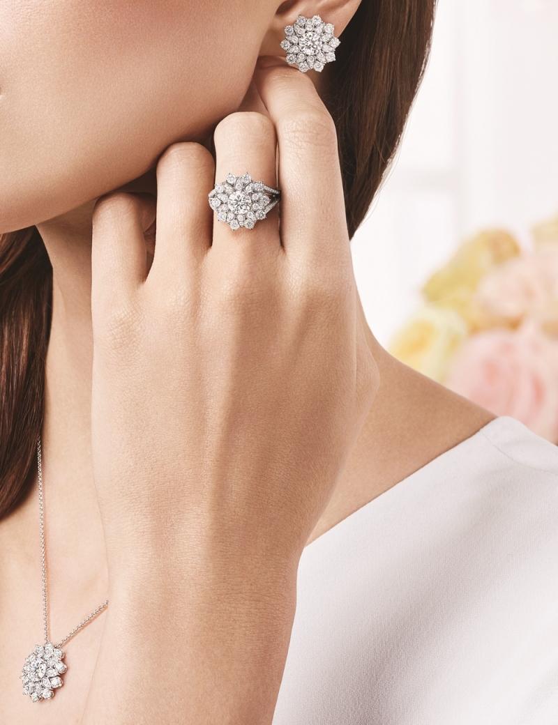 海瑞溫斯頓 芙蓉錦簇Lotus Cluster大型鑽石戒指及鍊墜及耳環