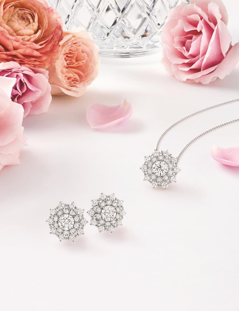 海瑞溫斯頓 芙蓉錦簇Lotus Cluster大型鑽石鍊墜及耳環