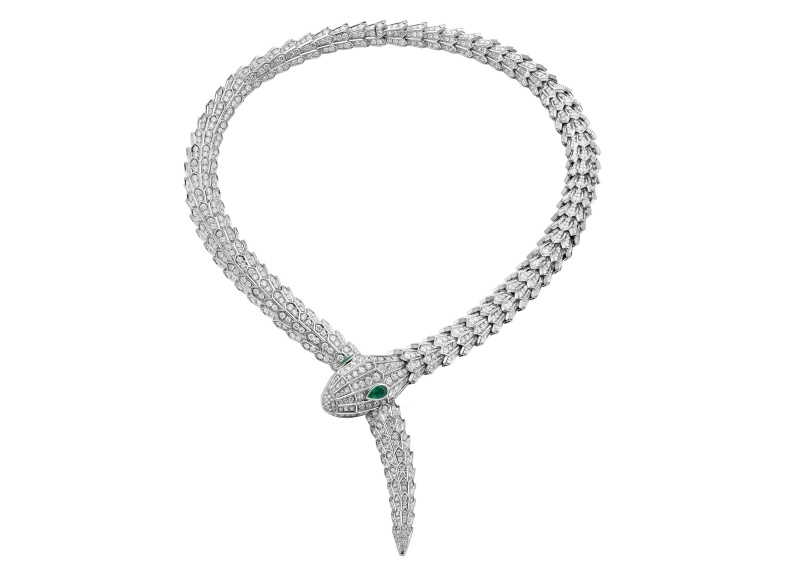 BVLGARI Serpenti 頂級鑽石與祖母綠蛇眼項鍊