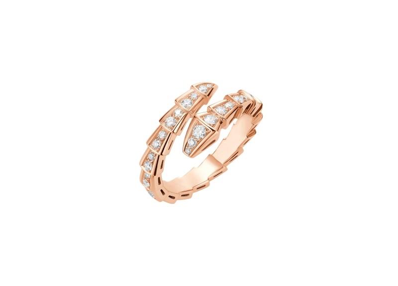 BVLGARI SERPENTI系列 玫瑰金鑽石戒指,參考售價約NT177,000